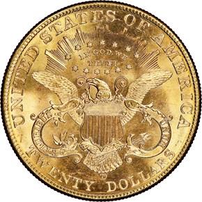 1907 D $20 MS reverse
