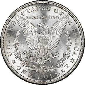 1886 S $1 MS reverse