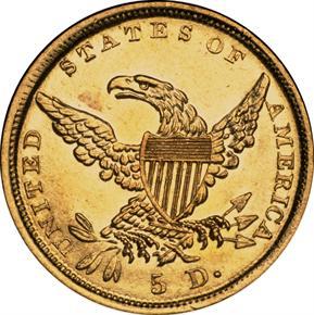 1838 D $5 MS reverse