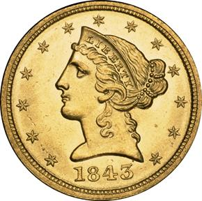 1843 D $5 MS obverse