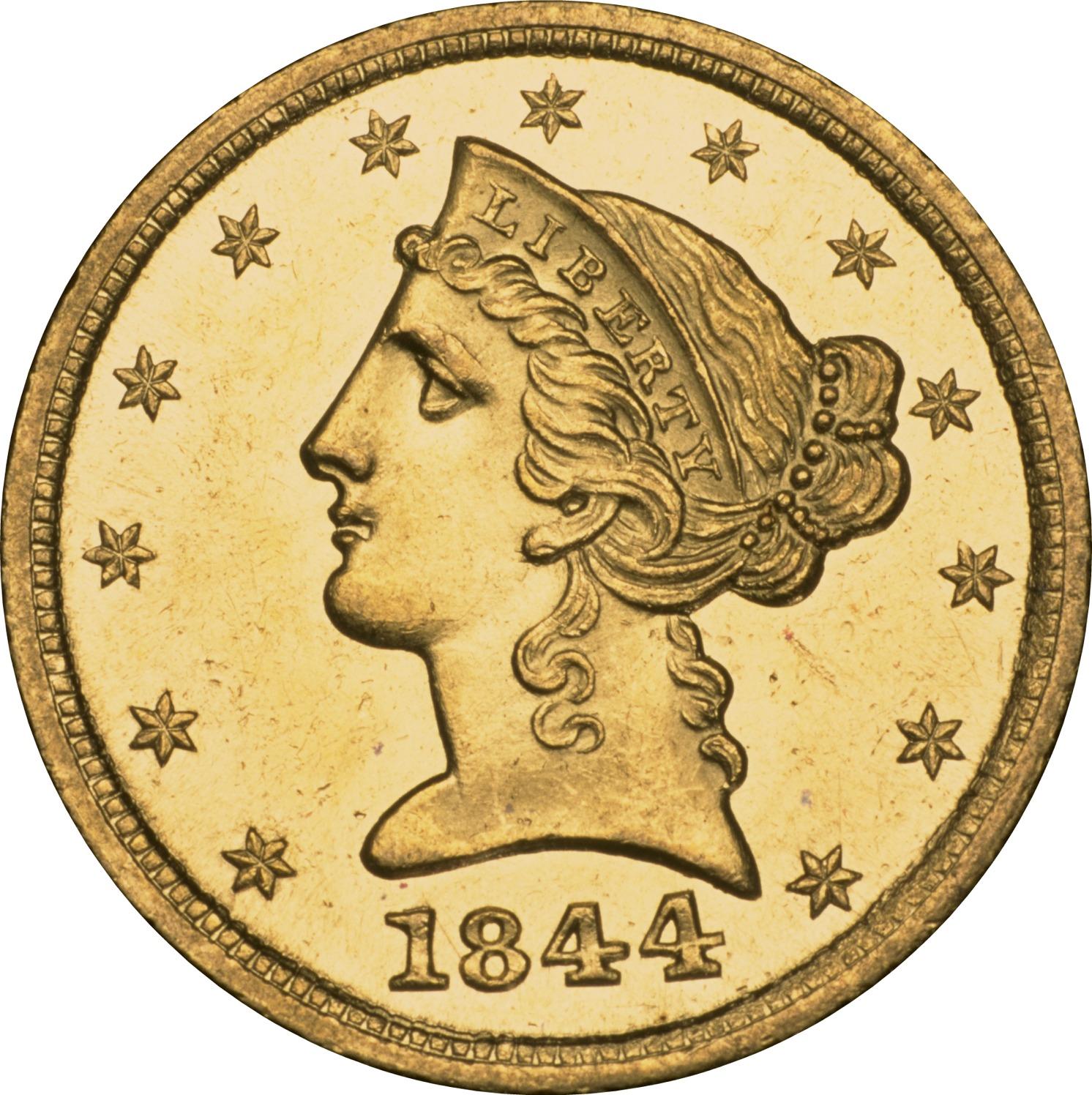 1844 D $5 MS obverse ...