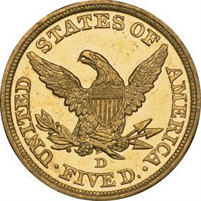 1844 D $5 MS reverse
