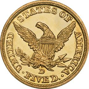 1845 D $5 MS reverse