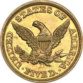 1850 D $5 MS reverse