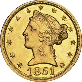 1851 D $5 MS obverse