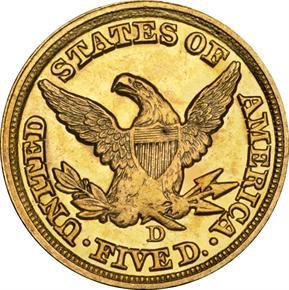 1851 D $5 MS reverse