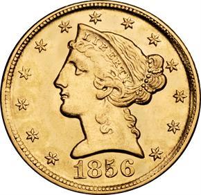 1856 D $5 MS obverse