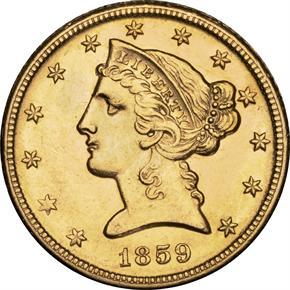 1859 D $5 MS obverse