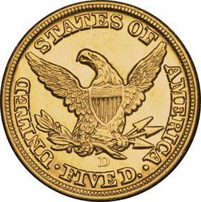 1859 D $5 MS reverse