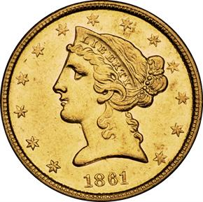 1861 D $5 MS obverse
