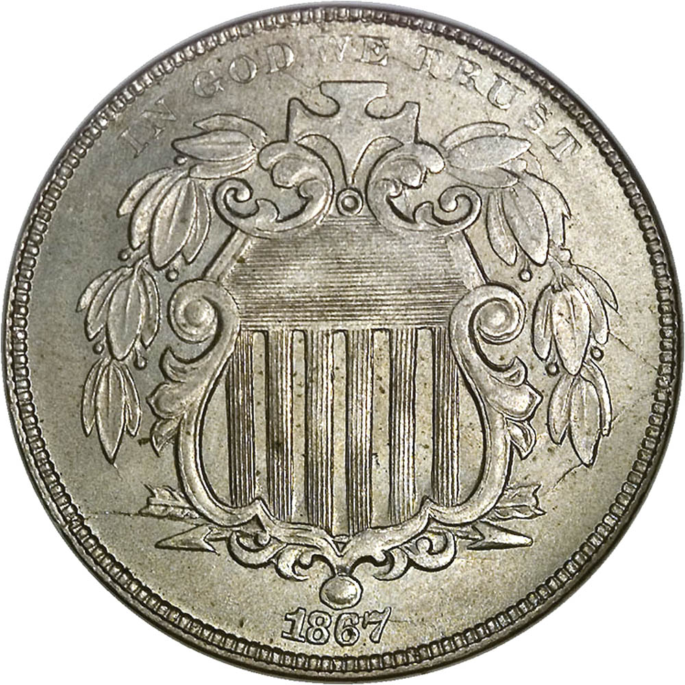 1867 NO RAYS 5C MS obverse ...