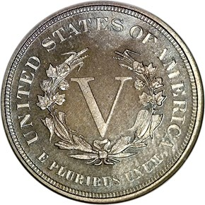 1883 NO CENTS 5C PF reverse