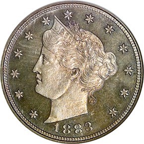 1883 NO CENTS 5C PF obverse