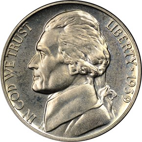 1939 REV OF 38 5C PF obverse