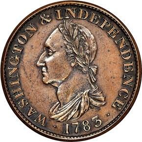 1783 PL EDGE COP RESTRK WASHINGTON & INDEPENDENCE obverse