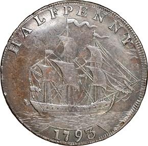 1793 LETTER EDGE SHIP WASHINGTON PRESIDENT 1/2P MS reverse