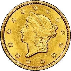 1849 CLOSED WREATH G$1 MS obverse