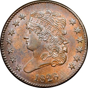 1826 1/2C MS obverse