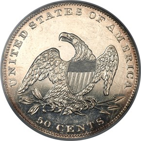 1836 REEDED 50C PF reverse