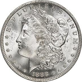 1888 O $1 MS obverse