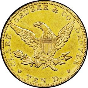 1861 $10 MS reverse