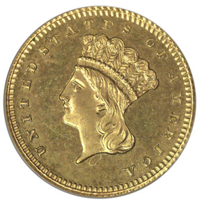1875 J-1432 GILT G$1 PF obverse