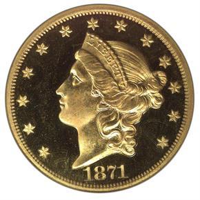 1871 $20 PF obverse