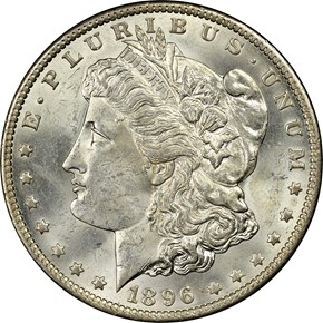 1896 O S$1 MS obverse
