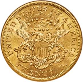 1868 S $20 MS reverse