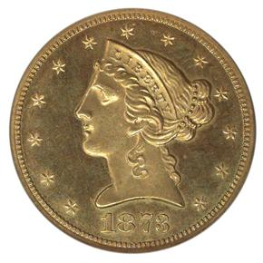 1873 CLOSED 3 $5 PF obverse