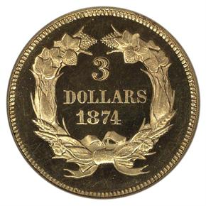 1874 $3 PF reverse