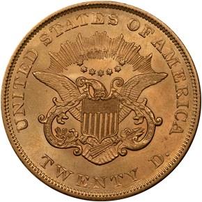 1857 $20 MS reverse