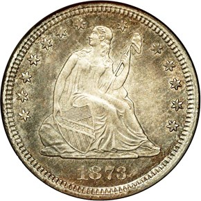 1873 CC NO ARROWS 25C MS obverse