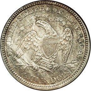 1873 CC NO ARROWS 25C MS reverse