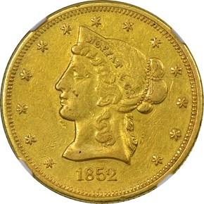 1852 CLOSE DATE MOFFAT & CO. $10 MS obverse