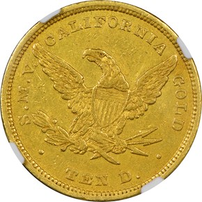 """1849 """"TEN D."""" MOFFAT & CO. $10 MS reverse"""