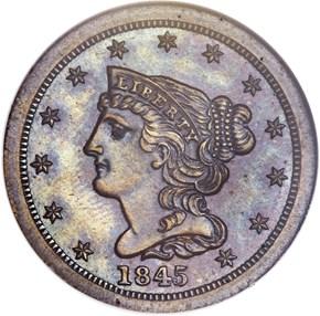 1845 RESTRIKE 1/2C PF obverse