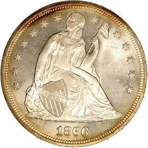 1866 MOTTO S$1 MS obverse
