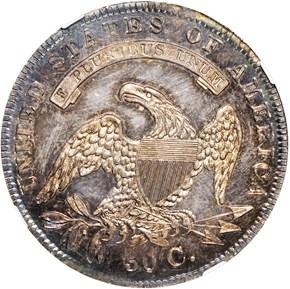 1836 LETTERED 50C PF reverse