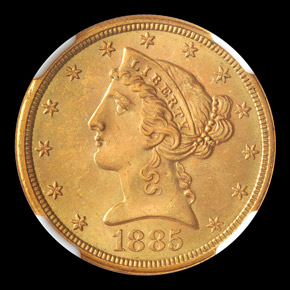 1885 S $5 MS obverse