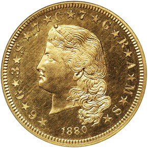 1880 FLOWING HAIR $4 PF obverse