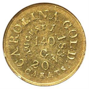 (1834-37) C.BECHTLER 140G, 20C, RUTHERF $5 MS reverse