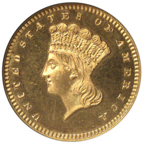 1866 G$1 PF obverse