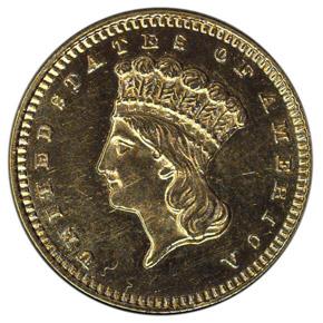 1868 G$1 MS obverse