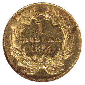 1884 G$1 MS reverse