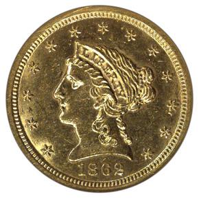 1862 S $2.5 MS obverse