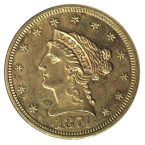 1874 $2.5 MS obverse