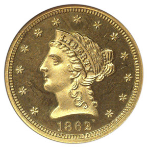 1862 $2.5 PF obverse