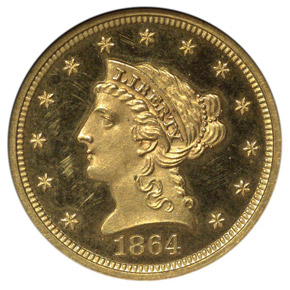1864 $2.5 PF obverse