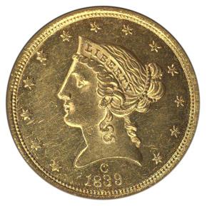 1839 C $5 MS obverse